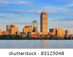 Stock photo boston city skyline with prudential tower and urban skyscrapers over charles river 83125048