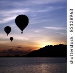 Silhouette Of Hot Air Balloons...
