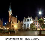 The Town Hall and Artus Court in Gdansk, Poland. - stock photo