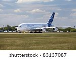 ZHUKOVSKY, RUSSIA - AUGUST 19: An AIRBUS A380 starts a demo flight at the  International Aviation and Space salon MAKS, August 19, 2011 in Zhukovsky, Russia - stock photo