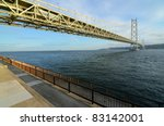 Akashi Kaikyo bridge in Kobe, Japan spanning the Seto Inland Sea. - stock photo