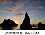 Sunset With Rock Formations At...