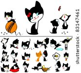 Stock vector collection cats cute little kitten isolated on white background 83147461
