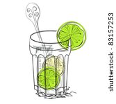 a glass of water with lime | Shutterstock .eps vector #83157253