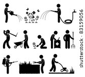 Man People Gardening Work Watering Plant Flower Cutting Fertilizer Insecticide Grass Pictogram Icon Symbol Sign - stock photo