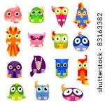 set of funny cartoon birds | Shutterstock .eps vector #83163382