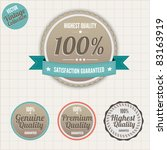 Set of vintage styled premium quality badges - stock vector