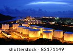 oil tank at night - stock photo