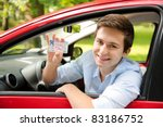 teenager sitting in new car and ... | Shutterstock . vector #83186752