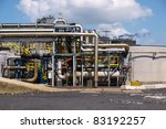 Detail of the pipes of a chemical plant - stock photo