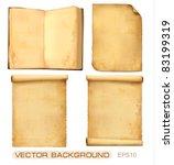 set of old paper sheets. vector ... | Shutterstock .eps vector #83199319