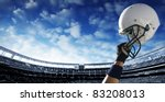 football player raises his... | Shutterstock . vector #83208013