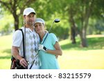golfing couple hugging on a... | Shutterstock . vector #83215579