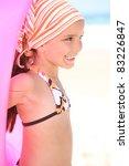 little girl on a beach with a...   Shutterstock . vector #83226847
