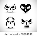 set of stylized skull shaped...