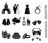 Wedding icons silhouette - stock vector