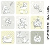 Stock vector baby card set 83248387