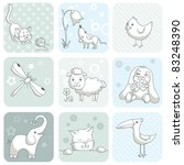 baby card with animals | Shutterstock .eps vector #83248390