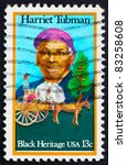 Small photo of UNITED STATES OF AMERICA - CIRCA 1978: a stamp printed in the United States of America shows Harriet Tubman and Cart Carrying Slaves, circa 1978
