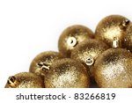golden christmas ball isolated on white - stock photo