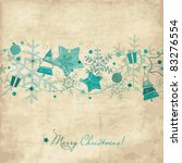 Vintage Christmas card with snowflakes - stock vector