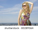 portrait of beautiful brunette...   Shutterstock . vector #83289364