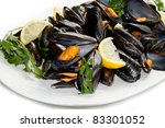 pile of cooked mussels  over... | Shutterstock . vector #83301052