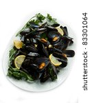pile of cooked mussels  over... | Shutterstock . vector #83301064