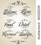 vintage vector calligraphic set   Shutterstock .eps vector #83320234