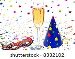 party cap  drink and confetti... | Shutterstock . vector #8332102