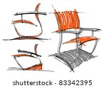 sketches of furniture | Shutterstock .eps vector #83342395
