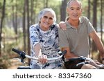 elderly couple on bike ride   Shutterstock . vector #83347360