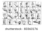 one handed manual alphabets ... | Shutterstock .eps vector #83363176