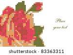 vintage rose  pixel art | Shutterstock .eps vector #83363311