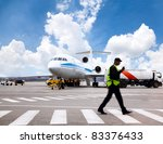 Stock photo aircraft maintenance people during refueling 83376433
