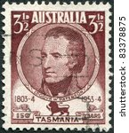 Small photo of AUSTRALIA - CIRCA 1953: A stamp printed in Australia, shows the 1st Lieutenant Governor of Northern Van Diemen's Land, William Paterson, circa 1953