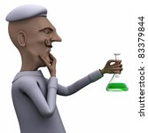 School teacher thinking about liquid in test tube - stock photo