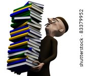 School teacher carryng a pack of history books - stock photo
