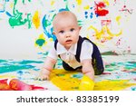 curious toddler finger painting | Shutterstock . vector #83385199