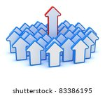 One big red arrow in the group of small blue arrows - stock photo