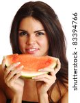 Woman Hold Watermelon In Hands