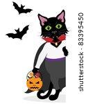 black halloween cat dressed as... | Shutterstock .eps vector #83395450