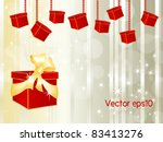 red gift box with golden ribbon ... | Shutterstock .eps vector #83413276