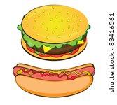 Raster version. Appetizing Hotdog and Sandwich.  illustration on white background - stock photo