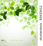 branch with fresh green leaves | Shutterstock .eps vector #83433412