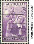 Small photo of AUSTRALIA - CIRCA 1955: A stamp printed in Australia, shows Florence Nightingale and Modern Nurse, circa 1955