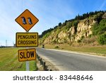 penguins crossing road sign... | Shutterstock . vector #83448646