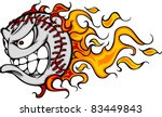 Flaming Baseball or Softball Face Cartoon