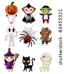 cartoon halloween monster icons | Shutterstock .eps vector #83455321