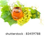grape juice and a bunch of grapes isolated on white background - stock photo